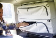 Bolsas de almacenamiento VW T5 / T6 / T6.1 Beach con asiento trasero de 3 plazas - Gris claro