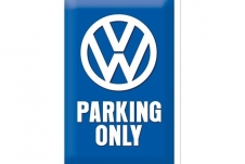 Bord VW parking only blauw 200/300mm